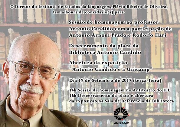 Convite para homenagem ao professor Antonio Candido